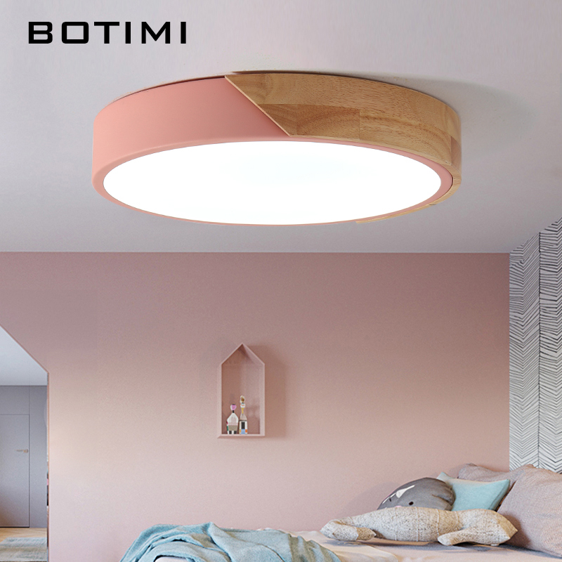 BOTIMI 220V LED Ceiling Lights Nordic Style Round Ceiling Mounted Lamp For Bedroom Wooden Kitchen Lighting Fixture