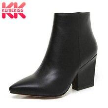 KemeKiss/осенние однотонные ботильоны черного цвета для зрелых женщин; женская обувь на молнии с острым носком на высоком каблуке; женская обувь; большие размеры 32-43