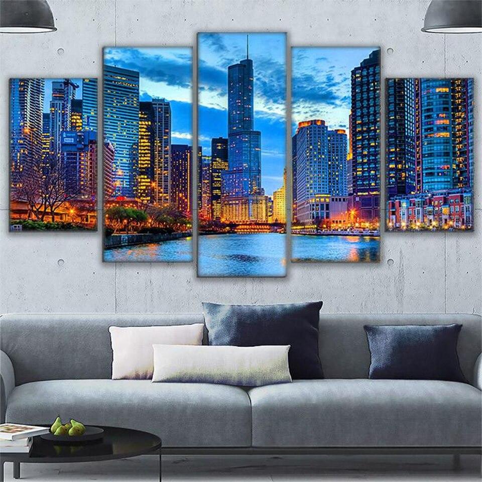 5 Paneles Hermosa Chicago Río Paisaje Urbano Pintura Aerosol HD ...