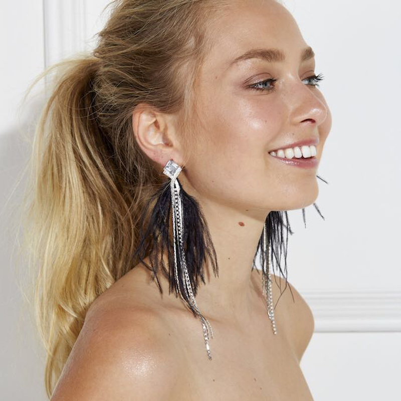 Coco&Willow stone and crystal chain feather long drop earrin