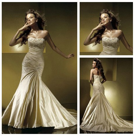 Vintage Style Mermaid Style Short Train Taffeta Gold Wedding Dress ...