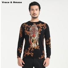 Chinese style tiger pattern printing soft and comfortable quality men sweater 2016 Autumn&Winter new fashion sweater men M-4XL