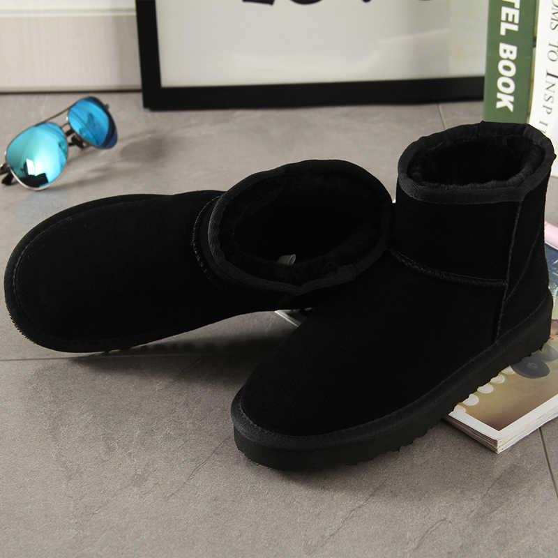 Begocool kadın kar botları 100% hakiki inek süet deri avustralya yarım çizmeler sıcak kış ayakkabı siyah