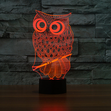 Home Atmosphere Decor 7 Color Change 3D Owl Modelling Led Night Lights Touch Button Desk Lamp Usb Creative Animal Light Fixtures цена в Москве и Питере
