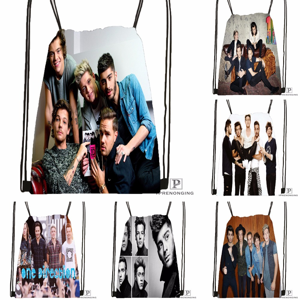 Custom One Direction@01 Drawstring Backpack Bag For Man Woman Cute Daypack Kids Satchel (Black Back) 31x40cm#180531-01-25