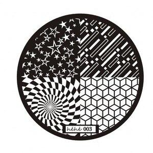 Image 3 - 1pc Nail Art Polish Stamp Plates 12 Designs Round Nail Stamping Plates DIY Nail Art Template Manicure Nail Tools Hehe 001 012#