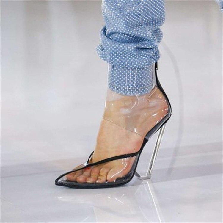 Plus Size Moda T Mostrar Mulheres Botas Sandálias Chiques Cut outs Superior Primavera Outono Sapatos Mulher Apontou Cunhas Dedo Do Pé claros Saltos Pista - 4