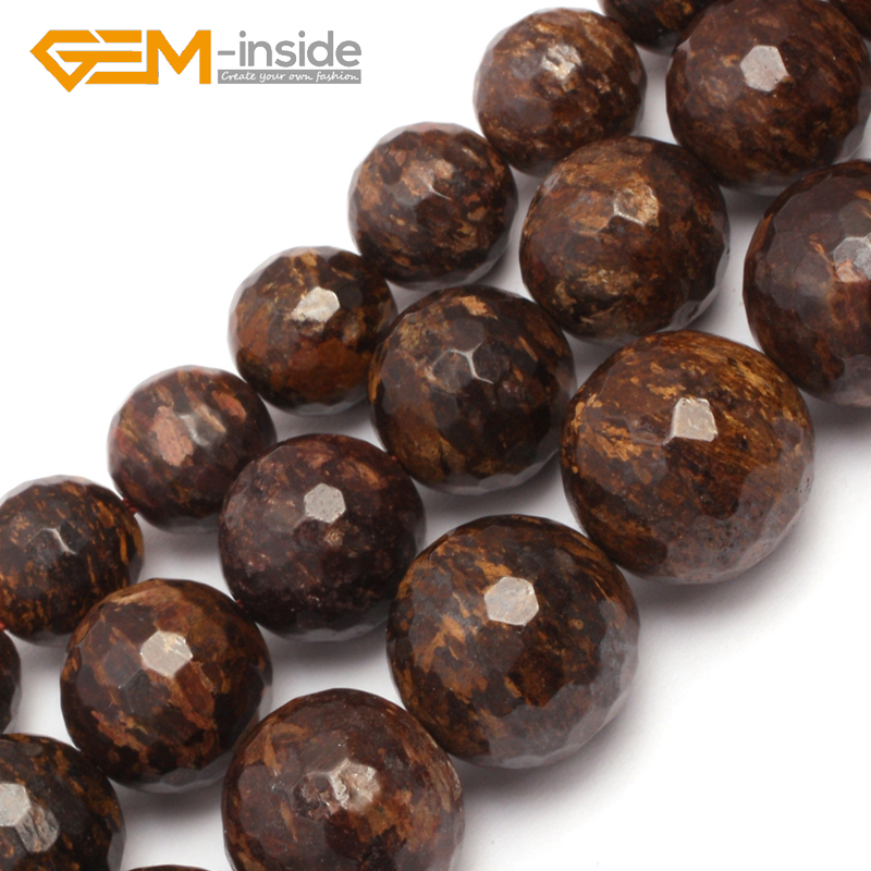 10mm 12mm 14mm Round Faceted Bronzite Jaspe r Beads Natural Stone Beads Loose Beads For Bracelet Making Strand 15 DIY !