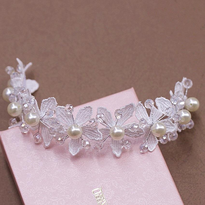 New 2016 Lace Pearl Bridal Tiara Handmade Wedding