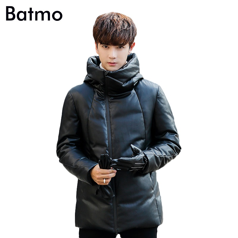 Batmo 2017 new arrival high quality keep warm PU 90% white duck down hooded jacket men,thick winter mens coat Y8017