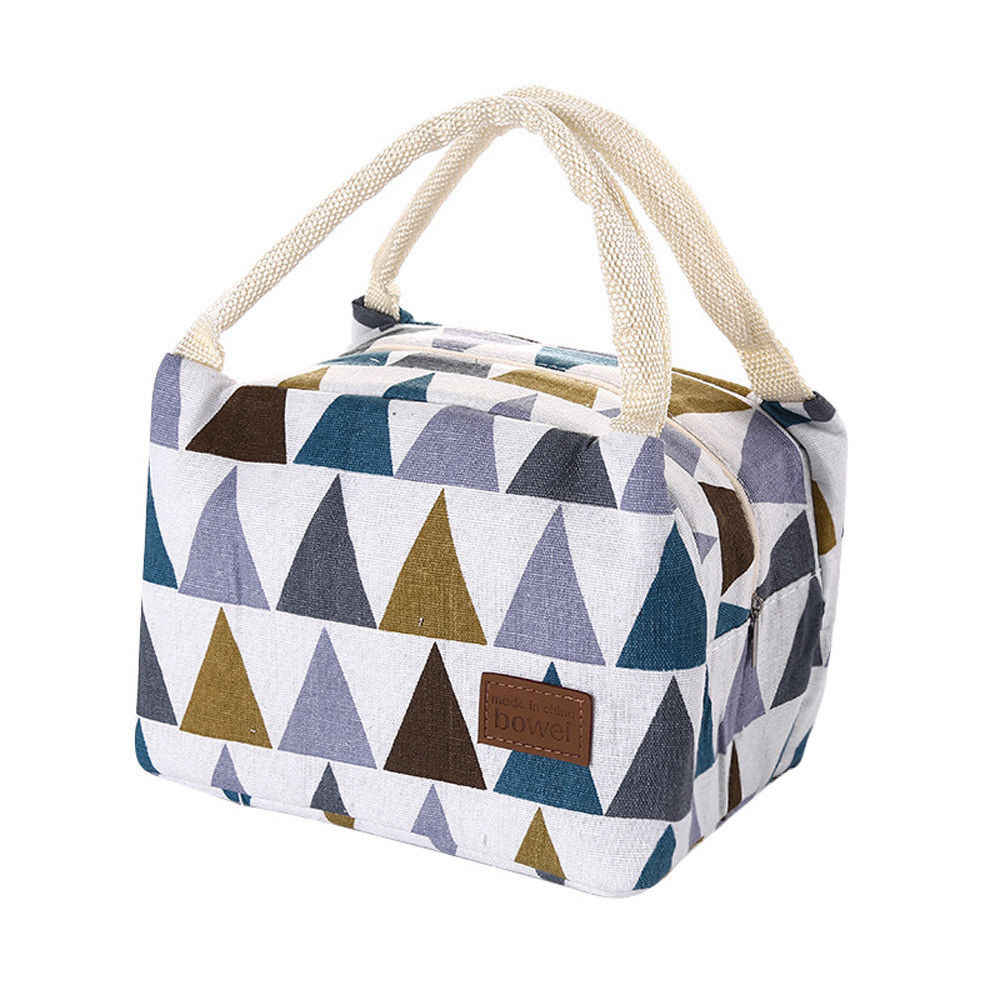 Geometrische Muster Funktionale Muster Kühler Lunch Box Tragbare Isolierte Leinwand Mittagessen Tasche Thermische Lebensmittel Picknick Mittagessen Taschen Kinder