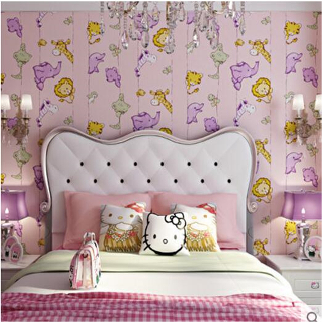 Beibehang Children S Room Wallpaper Bedroom Background Warm Animal World Green Living