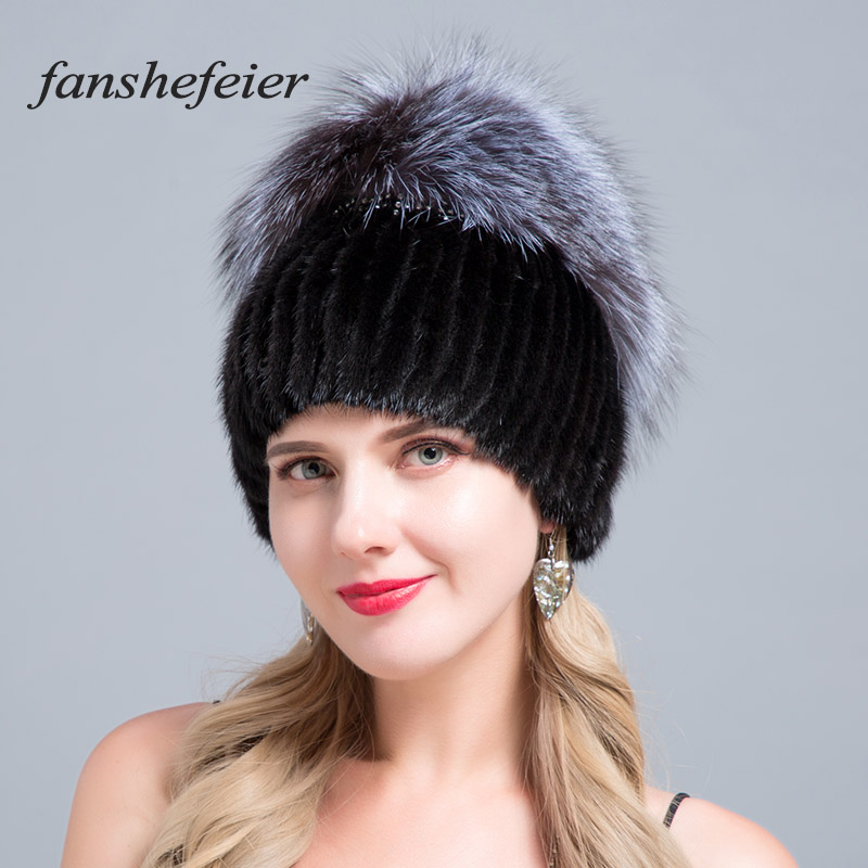 Fanshe New Winter Woman Ski Hat Fur Hooded Hat Silver Fox Fur Knitted Warm High Quality Fur Mink Hat Handmade Sewing Texture