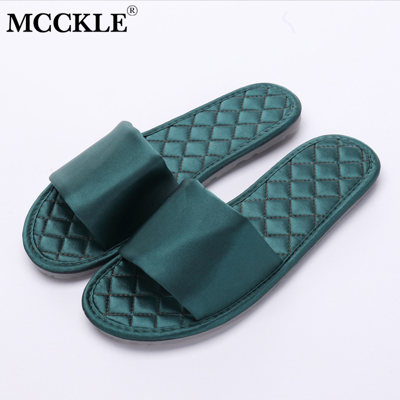 MCCKLE Women Summer Casual Flat Indoor Slippers Comfortable Ladies Silk Non-slip Breathable Slides Shoes Female Leisure Footwear