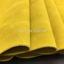 Yellow Genuine Cow Suede Leather Fabric Material for Casual Boots/handbag ,Free Shipping