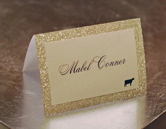 Wedding Banquet Buffet Dinner Gold Confetti Glitter Custom Customizable Editable Gold Glitter Food Tent Cards Place Name Cards