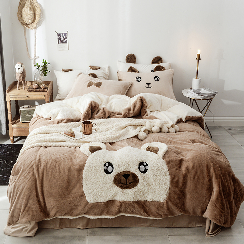 Brown White Pink Cartoon Bear Rabbit Applique Embroidery Bedding Set Fleece Fabric Duvet Cover Bed sheet  Bed Skirt PillowcasesBrown White Pink Cartoon Bear Rabbit Applique Embroidery Bedding Set Fleece Fabric Duvet Cover Bed sheet  Bed Skirt Pillowcases