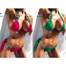 Tengweng 2019 New Crystal Swimsuit Bikini Rhinestone Swimwear Women Sexy Big size 2 piece Female Brazilian Bathing suit