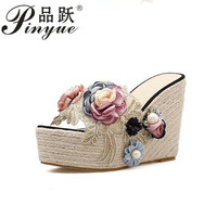 2019 Ethnic Bohemia Pearl 3D Flower Sandals Lace Embroidered Clear Hemp Rope Cane Shoes Silpper Slide Mule Wedge Heel 34 40