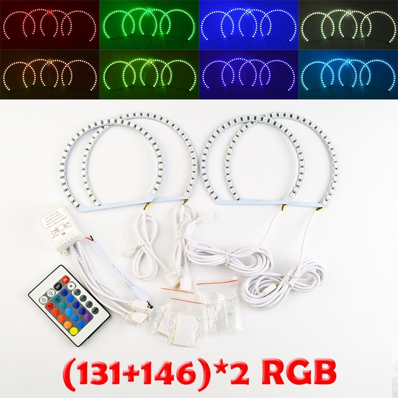 hippcron 2x131mm+2x146mm RGB LED Angel Eyes Headlight with Halo Ring Remote Control for BMW E46 4pcs for bmw e46 3 5 7 series rgb 2 131mm 2x146mm multi color rgb 5050 flash led car angel eyes headlight ring
