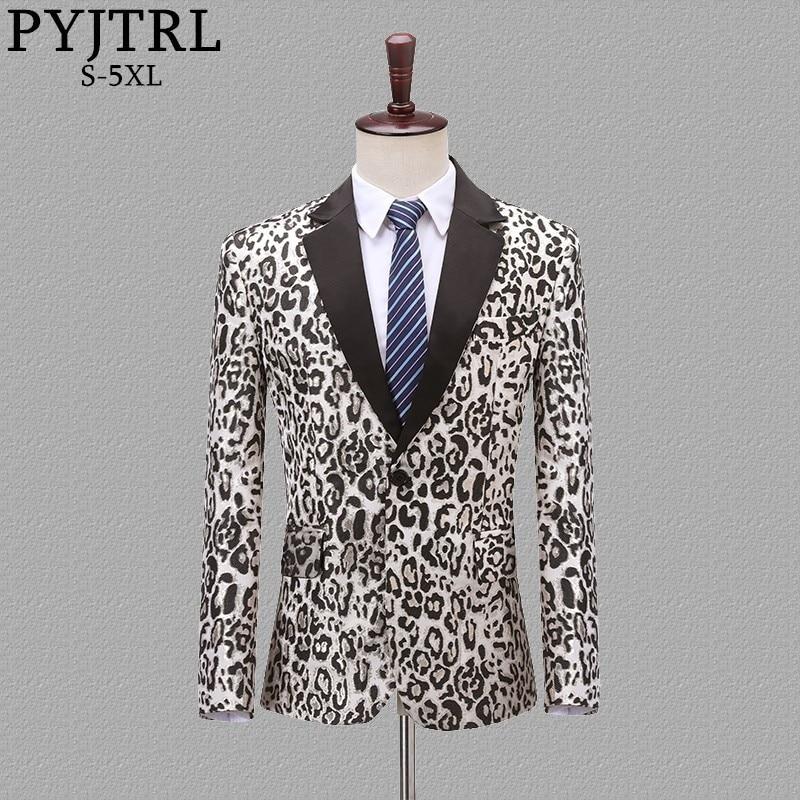 PYJTRL Mode Jacquard Leopard Muster Slim Fit Mantel Lässig Blazer Männer Veste Homme Kostüm Sänger Anzug Jacke Kleidung-in Blazer aus Herrenbekleidung bei  Gruppe 1