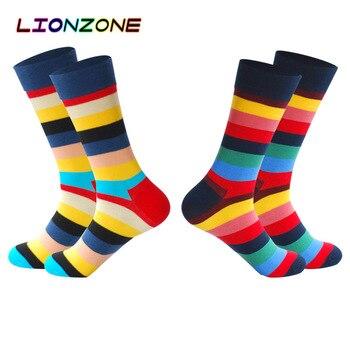 LIONZONE 2Pairs/Lot Men Striped Skateboard Socks Chaussettes Homme Coton Mark Formelle Long Socks Meias Coloridas