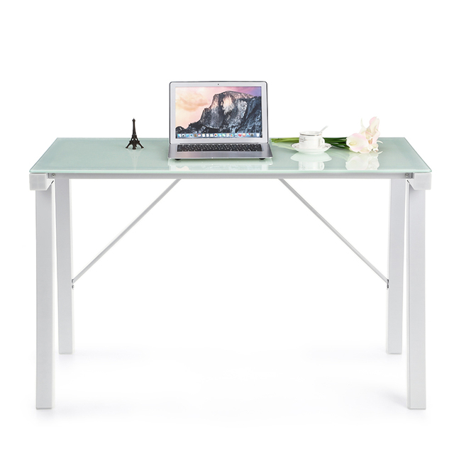 office workstation desks. IKayaa Computer Desk Table PC Laptop Office Workstation Tempered Glass Top 120KG Load Capacity Home Desks