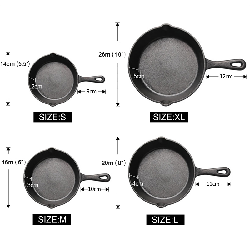 UPSPIRIT Cast Iron Non stick 14 26CM Skillet Frying Pan for Gas Induction Cooker Egg Pancake Pot Kitchen Dining Tools Cookware in Pans from Home Garden