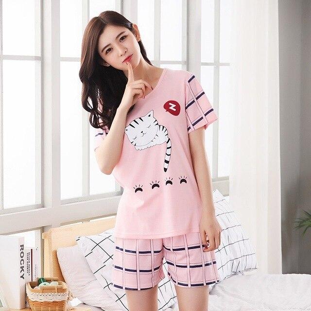 4cf92d474 Leite de seda Das Mulheres Sleepwear Conjuntos de Pijama Feminino verão  laides Fino Terno de Manga