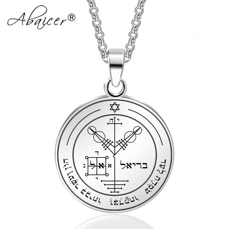 Abaicer-quatrième pentacle de jupiter Clé De Salomon Pendentif En Acier Inoxydable Collier Joints De La Sept Archanges