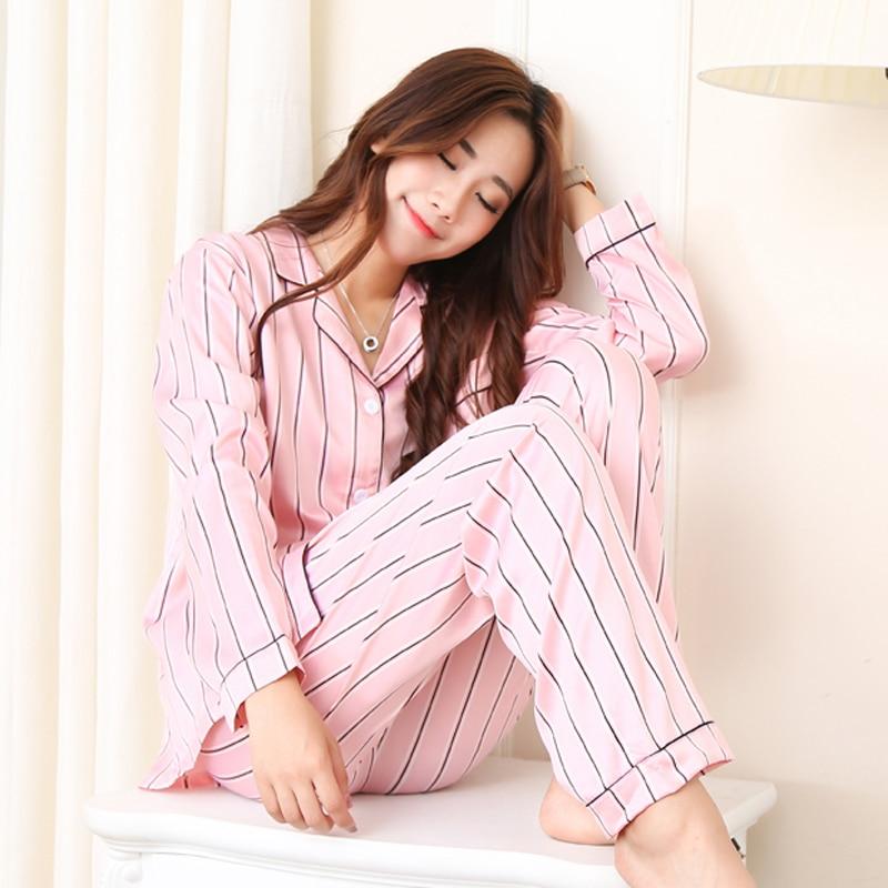 2018 new Ladies Imitation Silk   Pajamas     set   spring and autumn pink stripe sleepwear suit women thin homewear Casual pyjamas