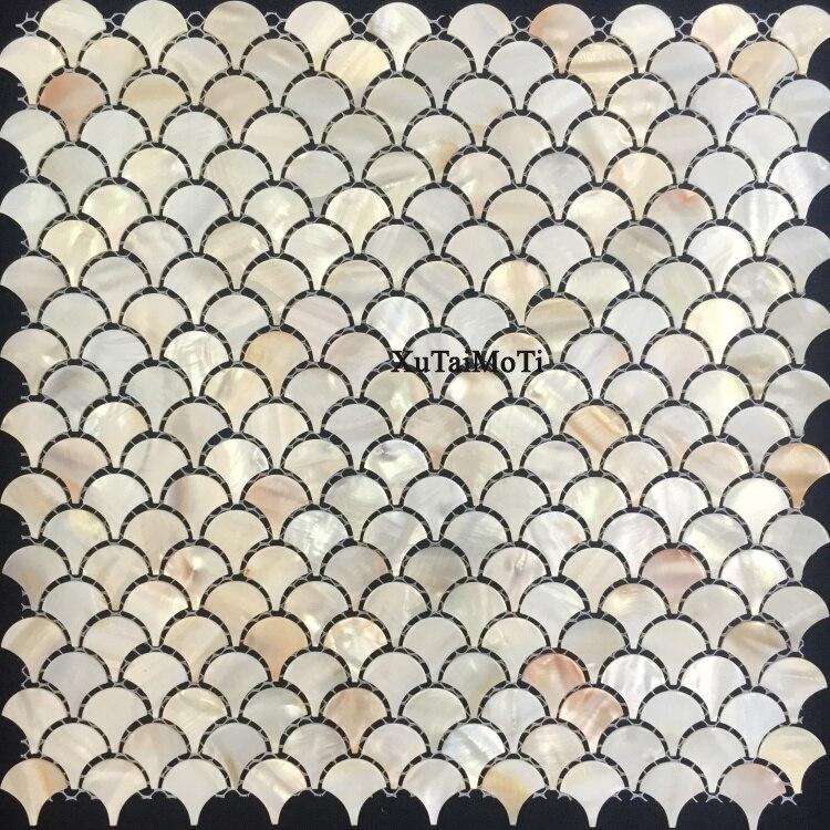 Natürliche Fischschuppen Shell Mosaik Perlmutt Fliesen Dekoration Wand  Badezimmer Küche Backsplash Dusche Boden Tapete Fliesen
