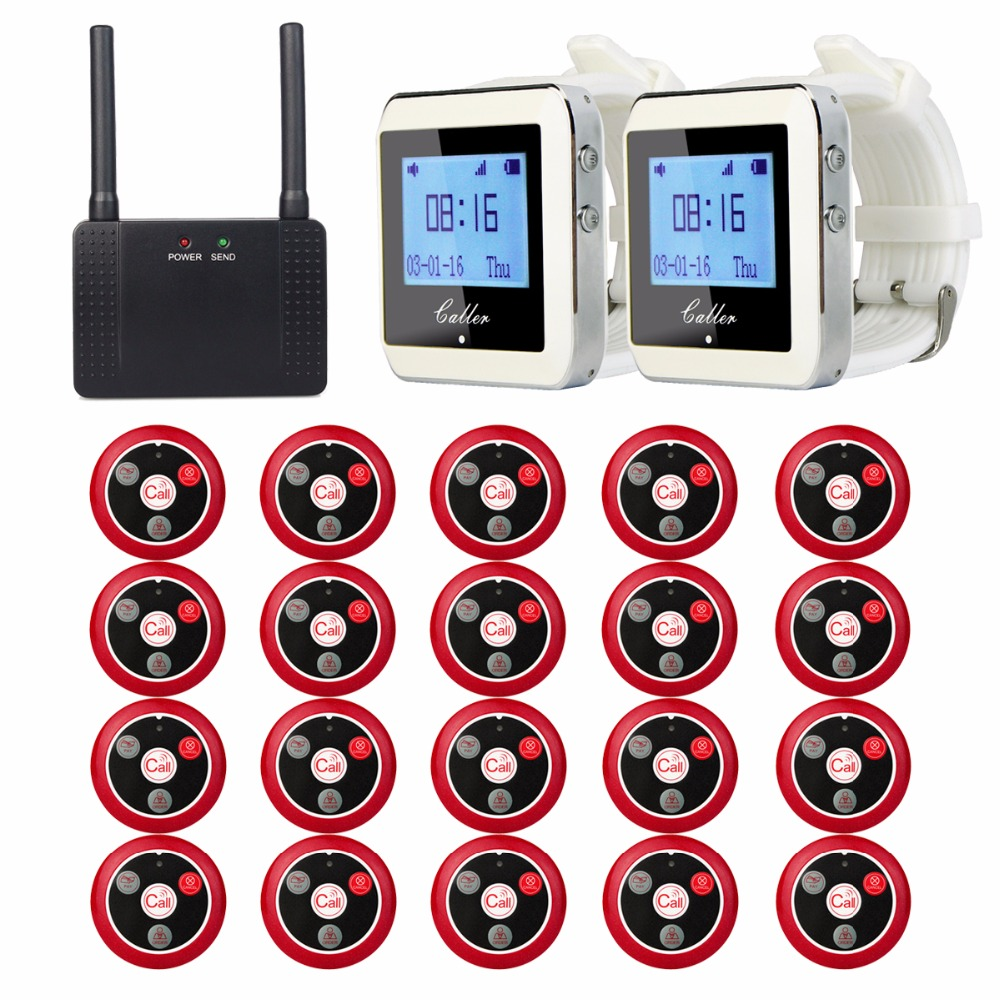 Restaurant Pager Wireless Paging Queuing Calling System 2pcs Watch Receiver+1pcs Signal Repeater+20pcs Call Button F3285 433mhz restaurant pager wireless calling paging system watch wrist receiver host 10pcs call transmitter button pager f3255c
