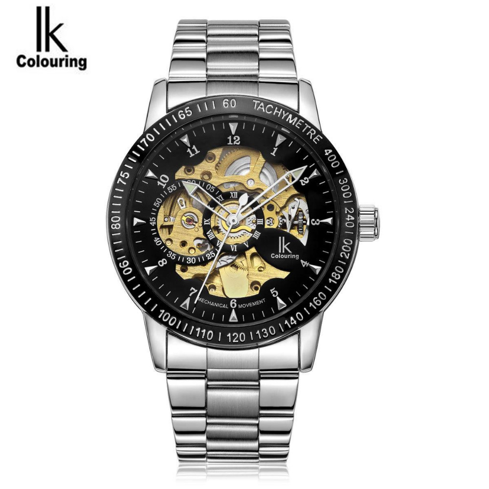ФОТО IK Coloring Casual Relogio Masculino Men's Skeleton Dial Auto Mechanical Wristwatch with Box Free Ship