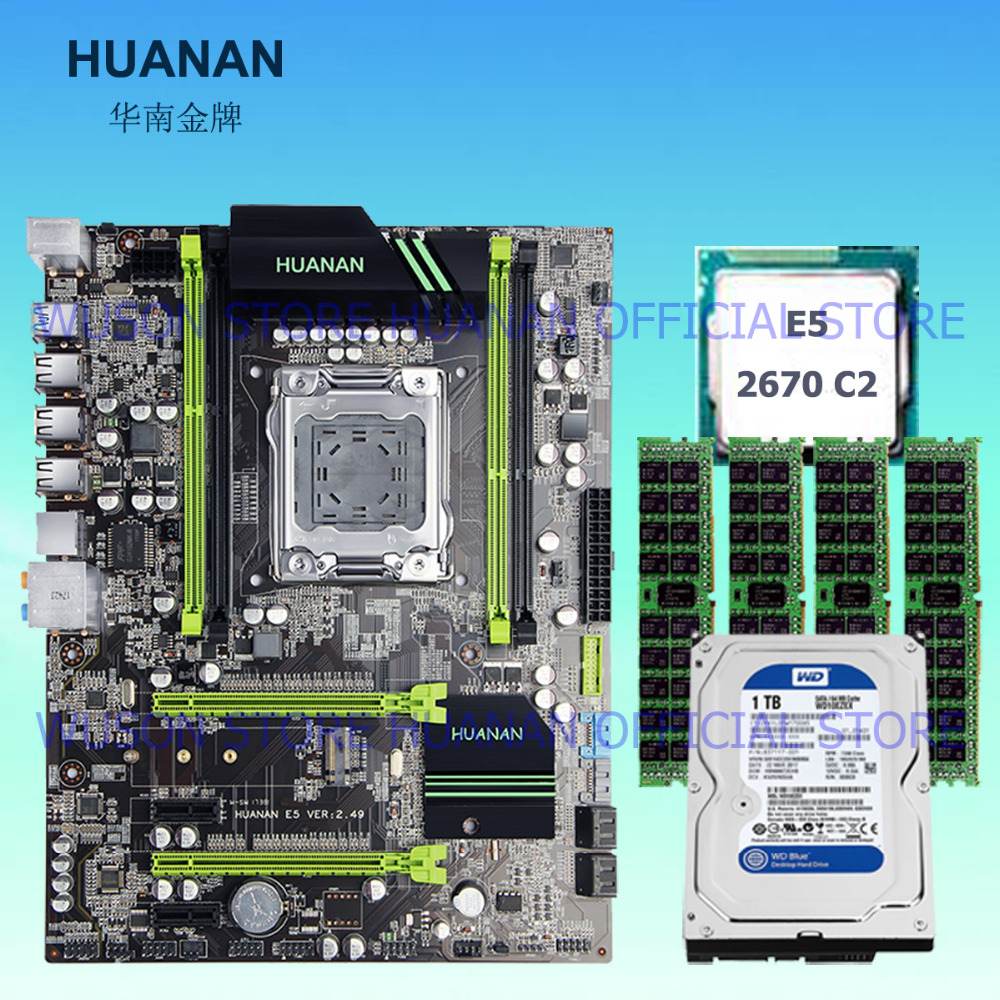 Hot sell brand HUANAN ZHI X79 LGA2011 motherboard with CPU Xeon E5 2670 C2 2.6GHz RAM 16G(4*4G) DDR3 REG ECC SATA3 7200 1TB HDD цена в Москве и Питере