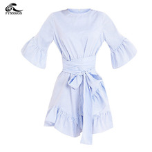 New Casual Summer  Women Dresses Striped Butterfly Half Sleeve O-Neck Vintage Female Mini Women Clothing Dress Vestidos R020