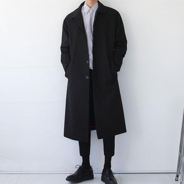 Moda jednolity kolor odzieży wierzchniej płaszcz w stylu Vintage mężczyźni luźne wiatrówka chaqueta hombre mężczyźni Korea styl długi wykop płaszcz mężczyzna X9104