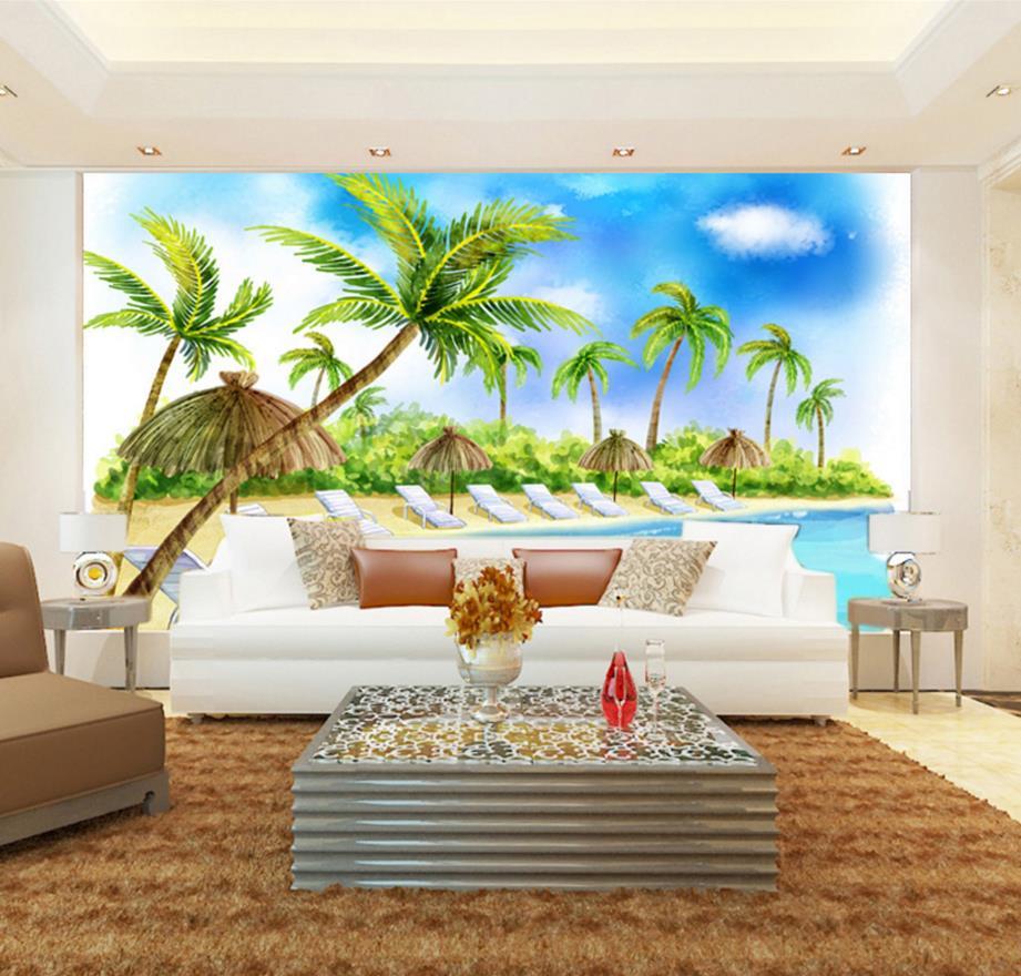 Modern Beach 3d Wallpaper Murals 3d Living Room Wallpaper