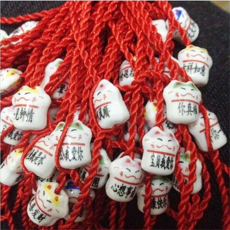 10 Teile/los Keramik Glückliche Katze Rote Schnur, Chinesischen Stil Rote Schnur, Chinesische Rote Schnur Für Kinder, Beste Urlaub Diy Geschenk Für Kind