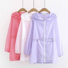 Large size Women's Summer Thin Windbreaker Long sleeve Lace Splice Hooded Sun protection clothing Fe