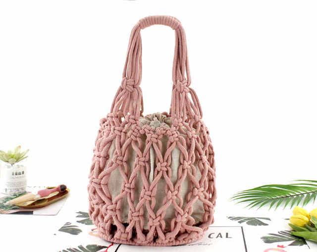 Straw Bag Thick Cotton...
