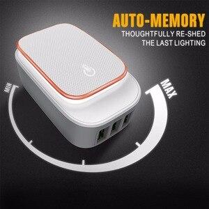 Image 2 - Powstro 3 port led lâmpada usb carregador adaptador 5 v 3.4a max 2 em 1 parede de viagem ue & eua auto id carregador de telefone móvel para iphone samsung