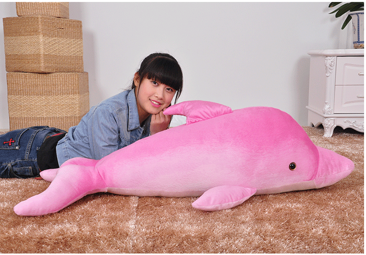 Big Plush Pink Dolphin Toy Stuffed Huge Lovely Dolphin Gift About