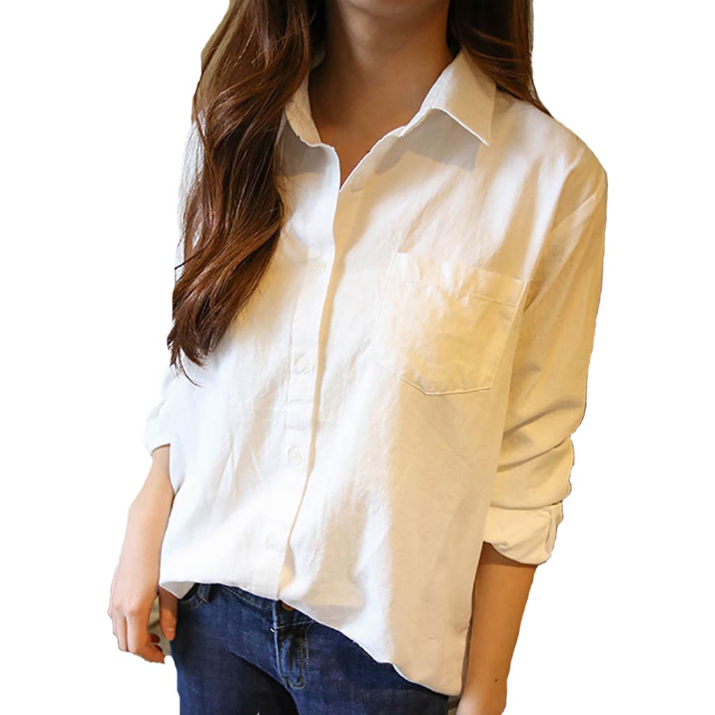 Women   Blouses   Spring White Long Sleeve Korean Loose Leisure Pure Color Women Clothing   Shirt   Chemise Femme#30