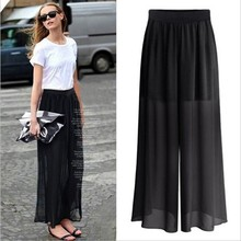Women's girls clothes plus-size full size unfastened Mid Casual large yards chiffon huge leg Pants & Capris Y076