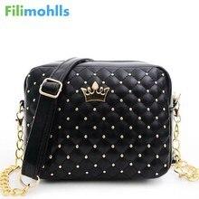 Excellent Quality 2018 Womens Bag Fashion Women Messenger Bags Rivet Chain Shoulder Bag High Quality PU