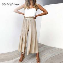 WildPinky Lady Wide Leg Pants Women Summer Beach Elastic High Waist Trousers Chic Streetwear Pleated Casual Pants Capris Female цена
