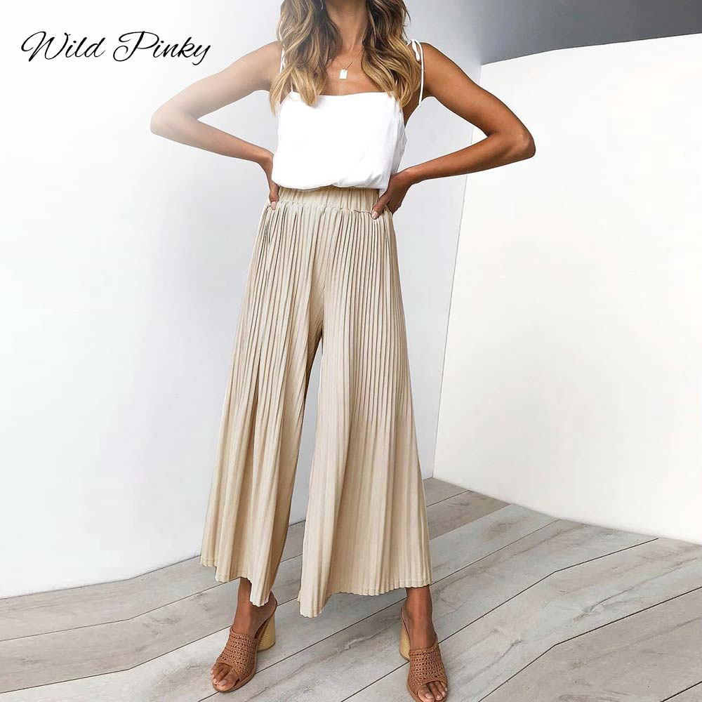 WildPinky Lady Wide Leg   Pants   Women Summer Beach Elastic High Waist Trousers Chic Streetwear Pleated Casual   Pants     Capris   Female