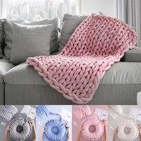 Knit Blanket 1000g Natural Wool Spin Yarn Hand Knitting Arm Roving Chunky Yarn DIY Bulky Super Thick