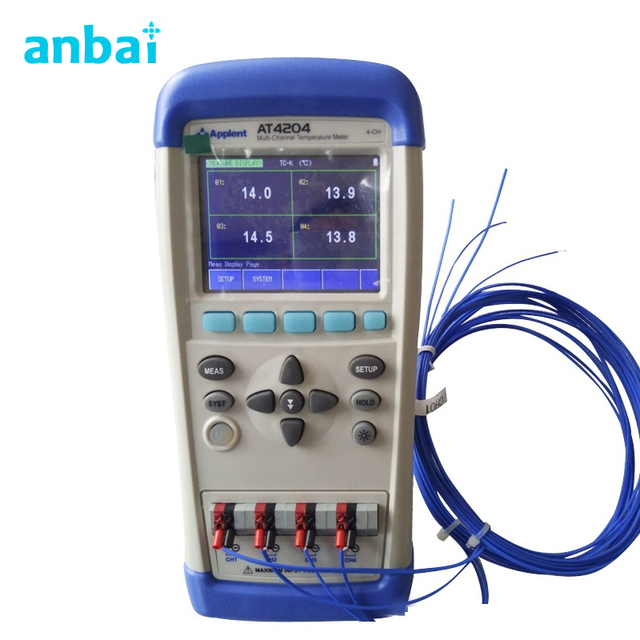 TFT-LCD True-color LCD Display 4 Channels Handheld Multi-channel Temperature Meter Tester AT4204